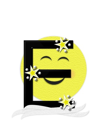 nightime: The letter E, in the alphabet set Moon Beam is in 3D and black.  Stars and polka dots decorate letter.  A smiling moon beam peeks around letter. Stock Photo