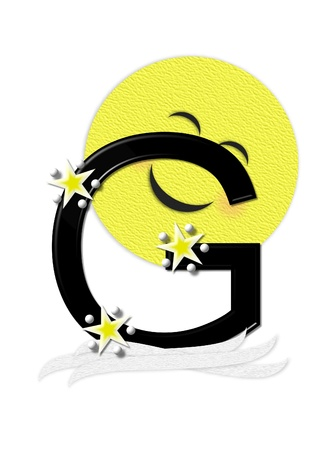 nightime: The letter G, in the alphabet set Moon Beam is in 3D and black.  Stars and polka dots decorate letter.  A smiling moon beam peeks around letter.