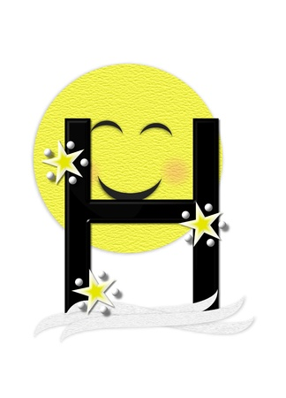 nightime: The letter H, in the alphabet set Moon Beam is in 3D and black.  Stars and polka dots decorate letter.  A smiling moon beam peeks around letter.
