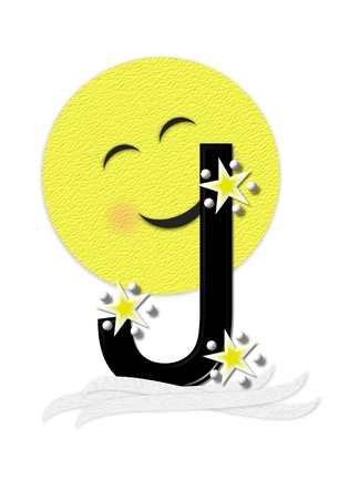 nightime: The letter J, in the alphabet set Moon Beam is in 3D and black.  Stars and polka dots decorate letter.  A smiling moon beam peeks around letter.