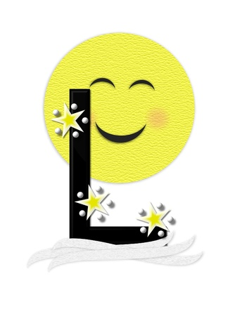 nightime: The letter L, in the alphabet set Moon Beam is in 3D and black.  Stars and polka dots decorate letter.  A smiling moon beam peeks around letter. Stock Photo