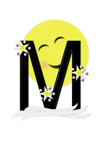 nightime: The letter M, in the alphabet set Moon Beam is in 3D and black.  Stars and polka dots decorate letter.  A smiling moon beam peeks around letter.