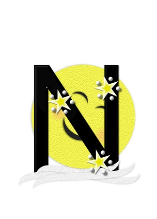 nightime: The letter N, in the alphabet set Moon Beam is in 3D and black.  Stars and polka dots decorate letter.  A smiling moon beam peeks around letter.