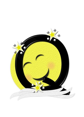 nightime: The letter Q, in the alphabet set Moon Beam is in 3D and black.  Stars and polka dots decorate letter.  A smiling moon beam peeks around letter. Stock Photo