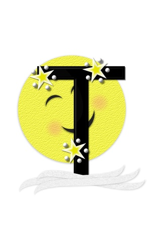 nightime: The letter T, in the alphabet set Moon Beam is in 3D and black.  Stars and polka dots decorate letter.  A smiling moon beam peeks around letter.