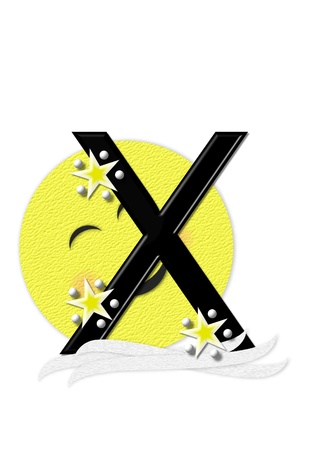 nightime: The letter X, in the alphabet set Moon Beam is in 3D and black.  Stars and polka dots decorate letter.  A smiling moon beam peeks around letter. Stock Photo