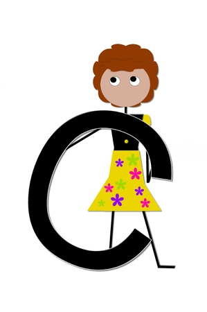 english letters: The letter C, in the alphabet set Play, is held by a stick figure girl holding flowers.  Letter is black with white outline. Stock Photo