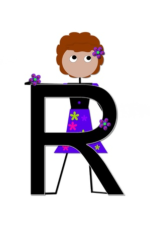 child holding sign: The letter R, in the alphabet set Play, is held by a stick figure girl holding flowers.  Letter is black with white outline.