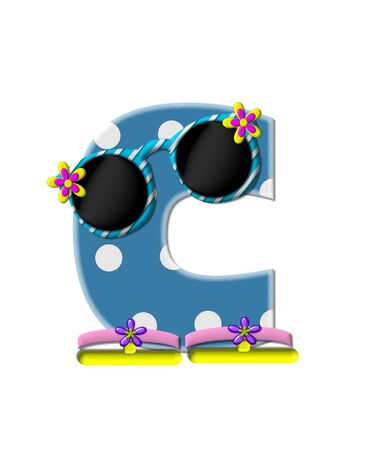 sunshades: The letter C, in the alphabet set Polka Dot Bikini blue with large white dots.  Letter is wearing fun sunshades and flip flops. Stock Photo