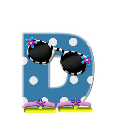 sunshades: The letter D, in the alphabet set Polka Dot Bikini blue with large white dots.  Letter is wearing fun sunshades and flip flops.