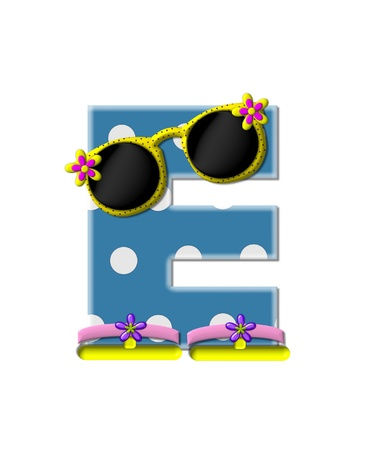 sunshades: The letter E, in the alphabet set Polka Dot Bikini blue with large white dots.  Letter is wearing fun sunshades and flip flops.