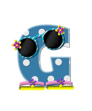 sunshades: The letter G, in the alphabet set Polka Dot Bikini blue with large white dots.  Letter is wearing fun sunshades and flip flops. Stock Photo