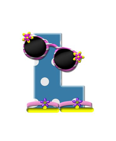 sunshades: The letter L, in the alphabet set Polka Dot Bikini blue with large white dots.  Letter is wearing fun sunshades and flip flops.