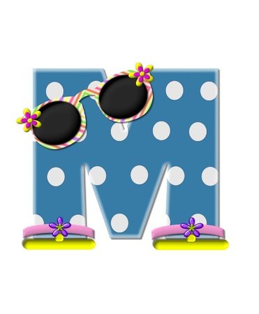 sunshades: The letter M, in the alphabet set Polka Dot Bikini blue with large white dots.  Letter is wearing fun sunshades and flip flops. Stock Photo