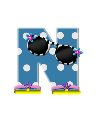 sunshades: The letter N, in the alphabet set Polka Dot Bikini blue with large white dots.  Letter is wearing fun sunshades and flip flops.
