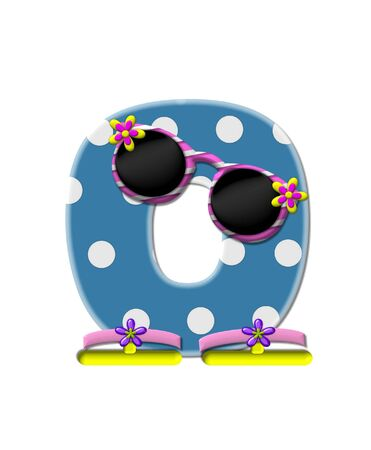 sunshades: The letter O, in the alphabet set Polka Dot Bikini blue with large white dots.  Letter is wearing fun sunshades and flip flops.