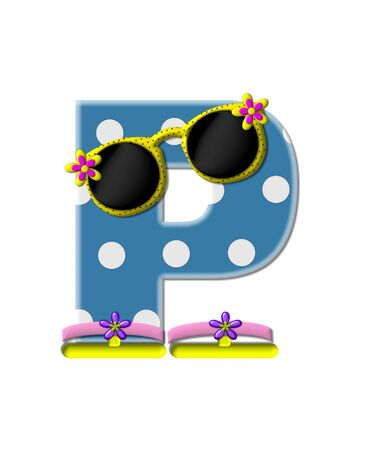 sunshades: The letter P, in the alphabet set Polka Dot Bikini blue with large white dots.  Letter is wearing fun sunshades and flip flops.