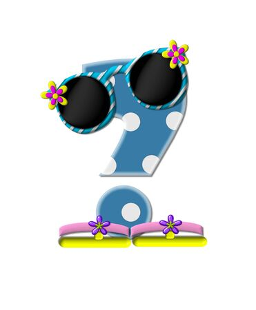 sunshades: Question mark, in the alphabet set Polka Dot Bikini blue with large white dots.  Letter is wearing fun sunshades and flip flops.