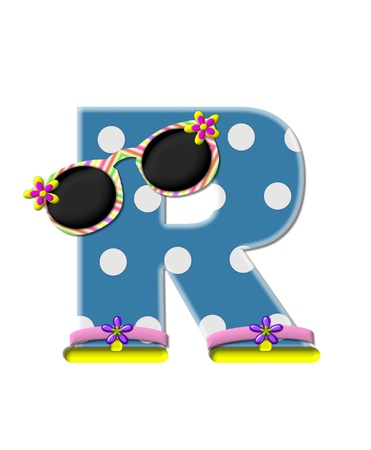 sunshades: The letter R, in the alphabet set Polka Dot Bikini blue with large white dots.  Letter is wearing fun sunshades and flip flops. Stock Photo