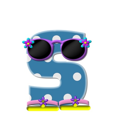 sunshades: The letter S, in the alphabet set Polka Dot Bikini blue with large white dots.  Letter is wearing fun sunshades and flip flops.