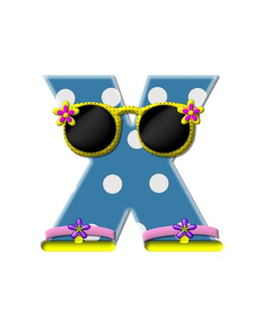 The letter X, in the alphabet set Polka Dot Bikini blue with large white dots.  Letter is wearing fun sunshades and flip flops. Imagens