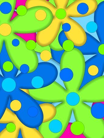 Big daisy-like flowers fill image with wild colors of hot pink, lime green, and blue. Large polka dots top colorful flowers. Stock Photo - 17407295