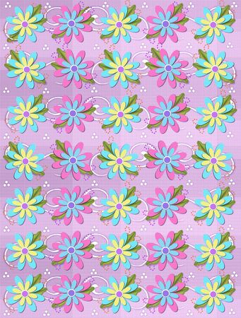 Layered daisies sit on lilac gingham background alongside of curls and polka dots.  Sprigs of beads and leaves spring from flowers base. Zdjęcie Seryjne - 17407324