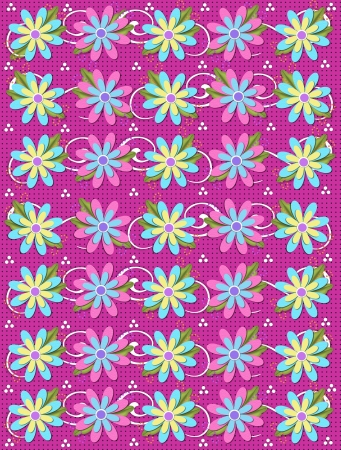 Layered daisies sit on dotted pink background covered in curls and polka dots.  Sprigs of beads and leaves spring from flowers base. Stock Photo - 17407318
