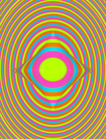 descending: Diminishing circles, in rainbow colors, includes strange gem shaped growth.   Stock Photo