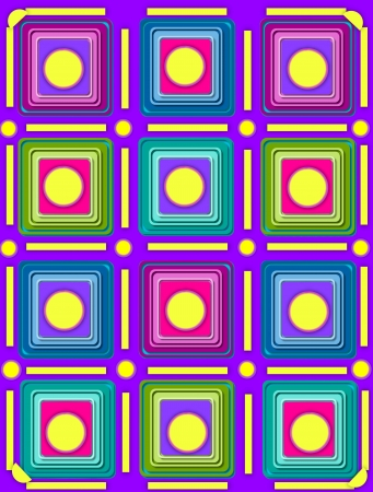 topped: Purple background is topped by rows of colorful 3D squares in multi-colors.  Lines and circles outline rows.  Large circle tops squares.