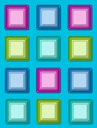 Bright aqua background is topped by rows of colorful 3D squares in multi-colors with multi-layers. photo