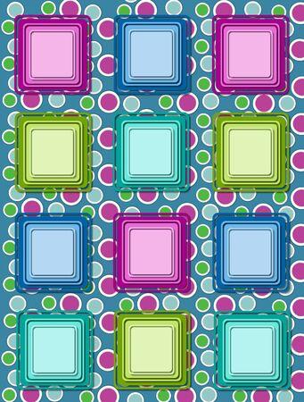 polka dotted: Diversi�n polka fondo verde punteada est� coronada por una hilera de coloridos cuadros 3D en m�ltiples colores.