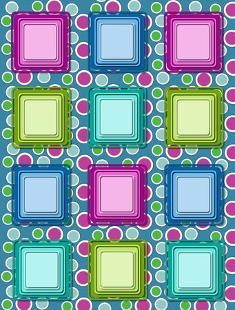 topped: Fun polka dotted green background is topped by rows of colorful 3D squares in multi-colors. Stock Photo