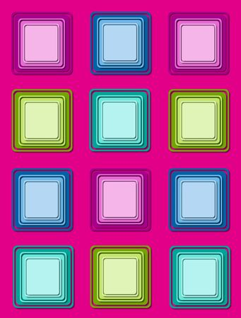 topped: Hot pink background is topped by rows of colorful 3D squares in multi-colors with multi-layers.