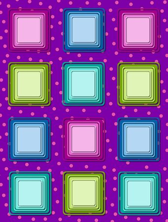 Fun polka dotted purple background is topped by rows of colorful 3D squares in multi-colors. photo
