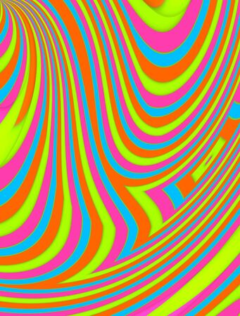 pinks: Candy colors are stretched and pulled in this image of lines and curves.  Image has blues, pinks, aquas, green and orange.