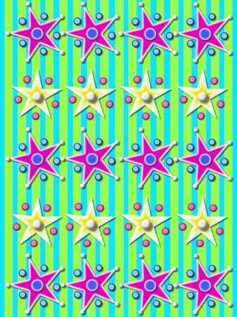 Aqua and green striped background is covered with rows of purple stars surrounded by balls and beads.