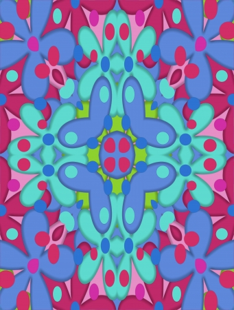 Blue, pink and aqua flowers decorarte abstract background.  Blue butterflies spread their wings as they light upon a blue flower with unusual pink and blue petals. Stock Photo - 17499262