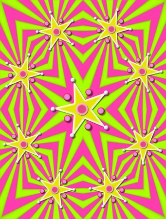 Angled lines of green and pink decorate background.  Stars in yellow and white are surrounded with 3D circles and beads. photo