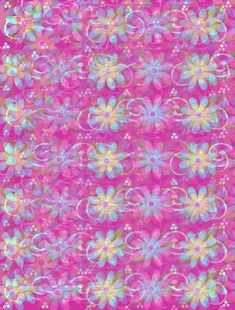 Layered daisies blur onto a background of white curls and white polka dots.  Sprigs of beads and leaves spring from flowers base. Stock Photo - 17499288