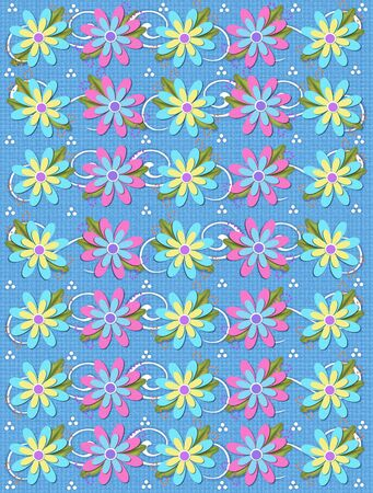 Layered daisies sit on background of curls and polka dots.  Sprigs of beads and leaves spring from flowers base. Stock Photo - 17499307
