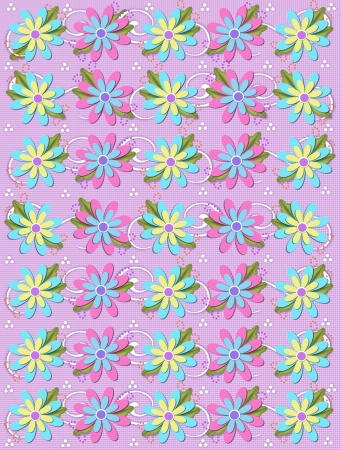 Layered daisies sit on lilac gingham background alongside of curls and polka dots.  Sprigs of beads and leaves spring from flowers base. Imagens