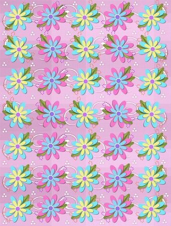 Layered daisies sit on pink gingham background covered in curls and polka dots.  Sprigs of beads and leaves spring from flowers base. Stock Photo - 17499305