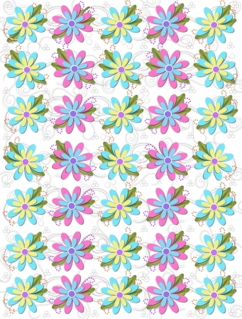 Layered daisies sit on background of curls and polka dots.  Sprigs of beads and leaves spring from flowers base. Stock Photo - 17499298