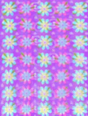 Soft outline of daisy-like flowers fill background image.  Purple peeks from behind flowers. Stock Photo - 17499277