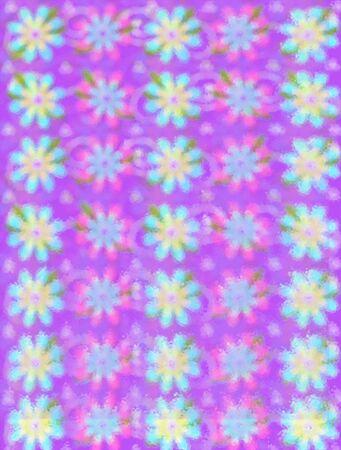Soft outline of daisy-like flowers fill background image.  Purple peeks from behind flowers. Zdjęcie Seryjne