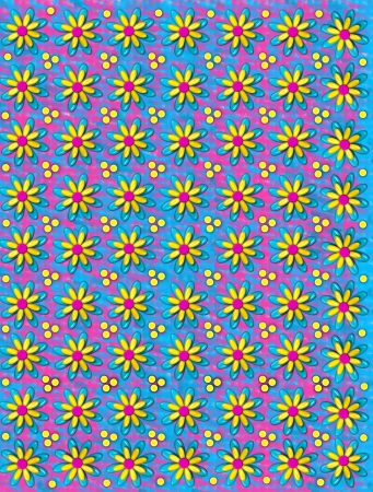 3D background has three layer flowers and yellow polka dots.  Smudges of pink and blue fill background.