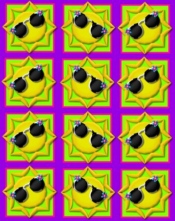 sunshades: Purple background is decorated with colorful squares.  Squares are topped with yellow sun wearing sunshades.