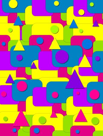 Background image is filled with rectangles in bright green, blue, purple, yellow and hot pink.  Triangles and circles top rectangles. Stock Photo - 17499253