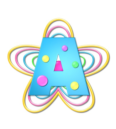 The letter A, in the alphabet set 3D Beads, is aqua with colorful 3D beads.  Letter sits on pastel, colorful, plastic ropes shapes like a flower and increasing in sizes.